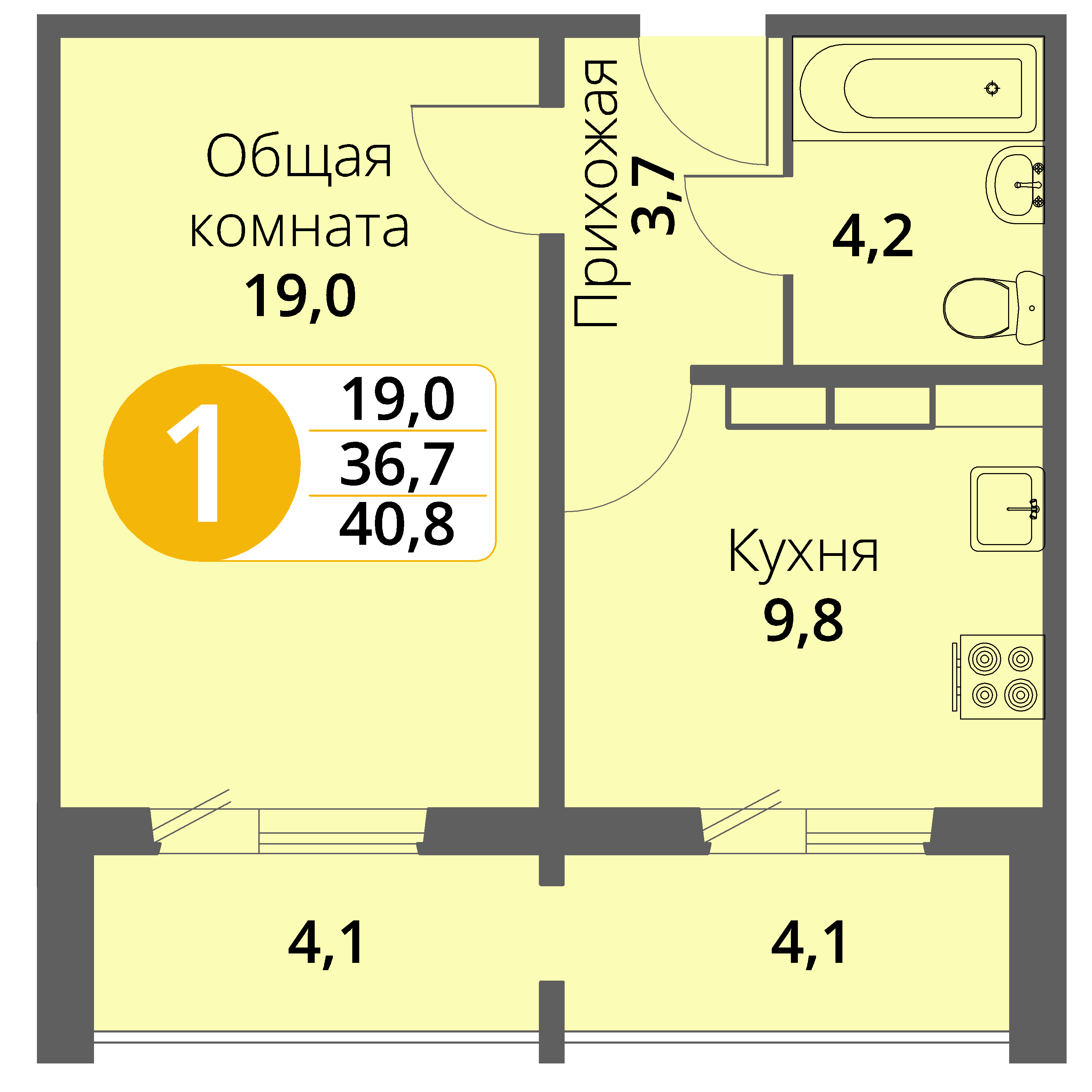 Зареченская 1-2, квартира 28 - Однокомнатная