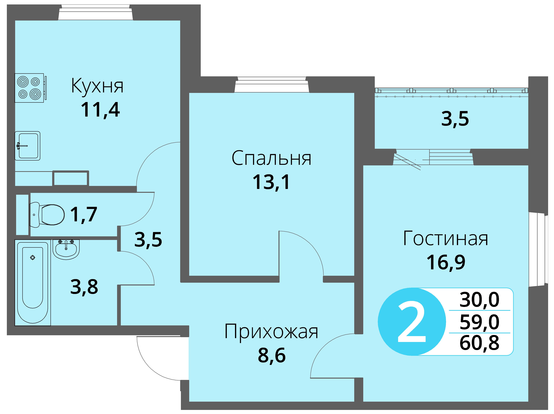Зареченская 1-2, квартира 46 - Двухкомнатная