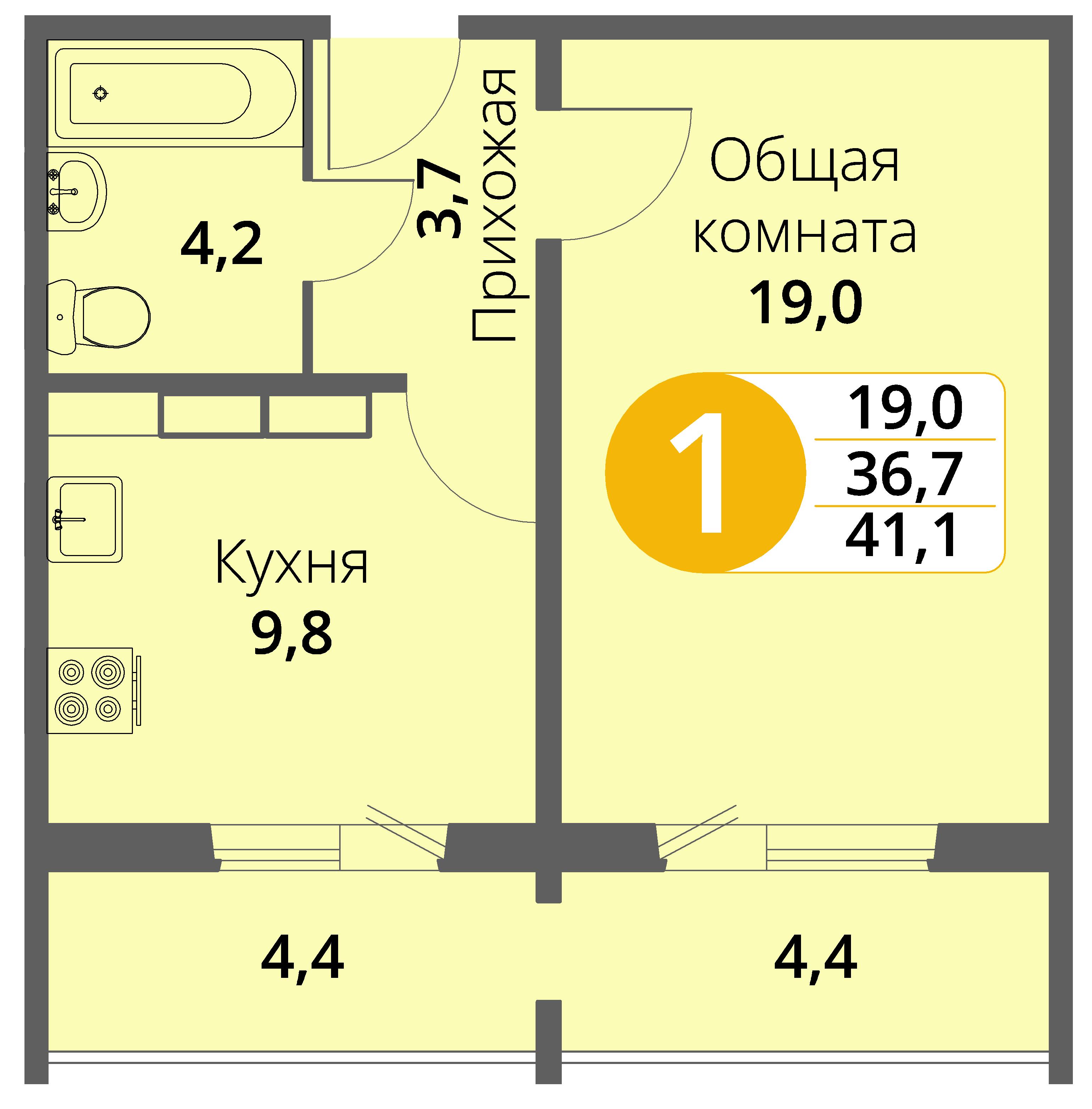 Зареченская 1-2, квартира 98 - Однокомнатная