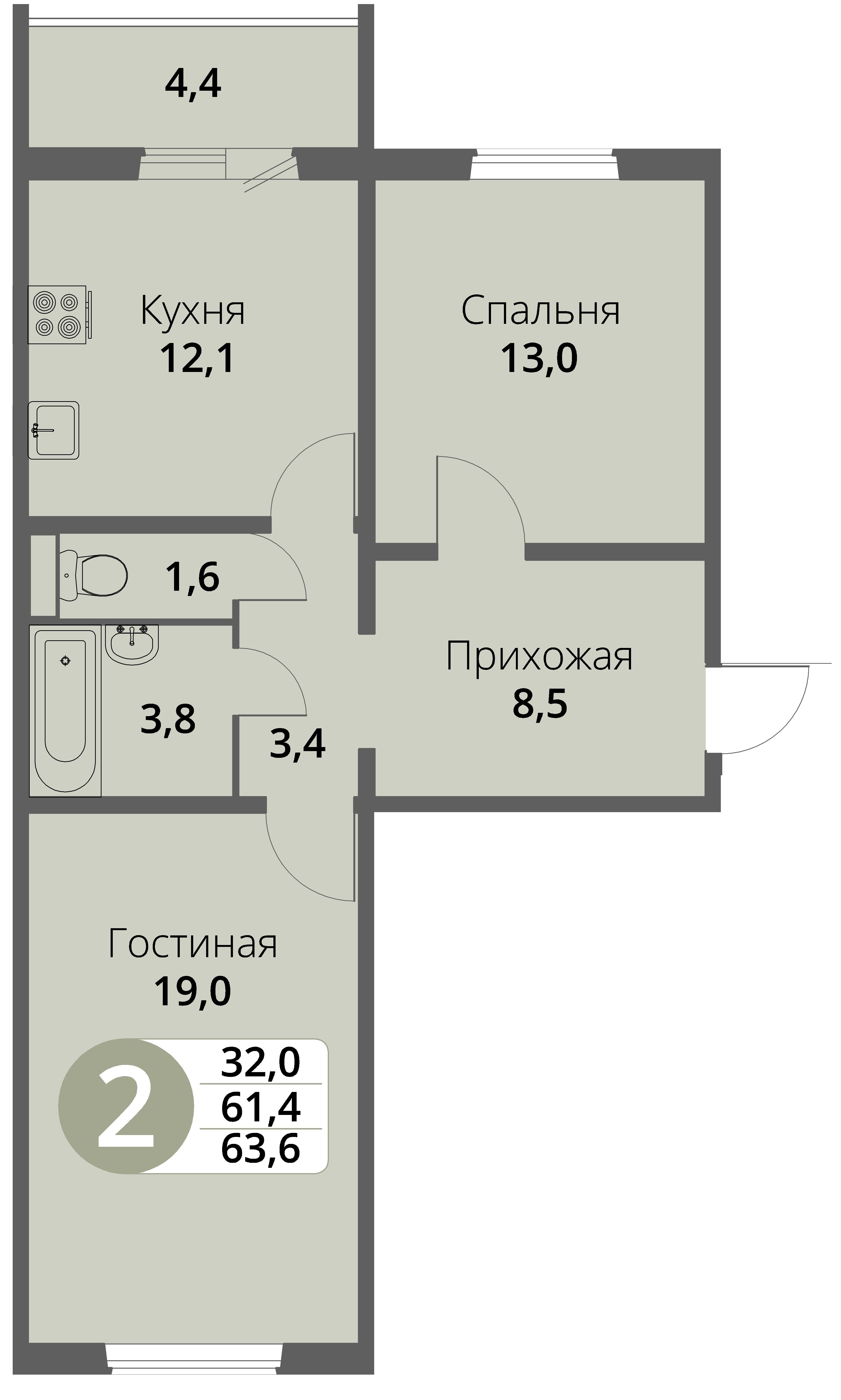Зареченская 1-2, квартира 85 - Двухкомнатная