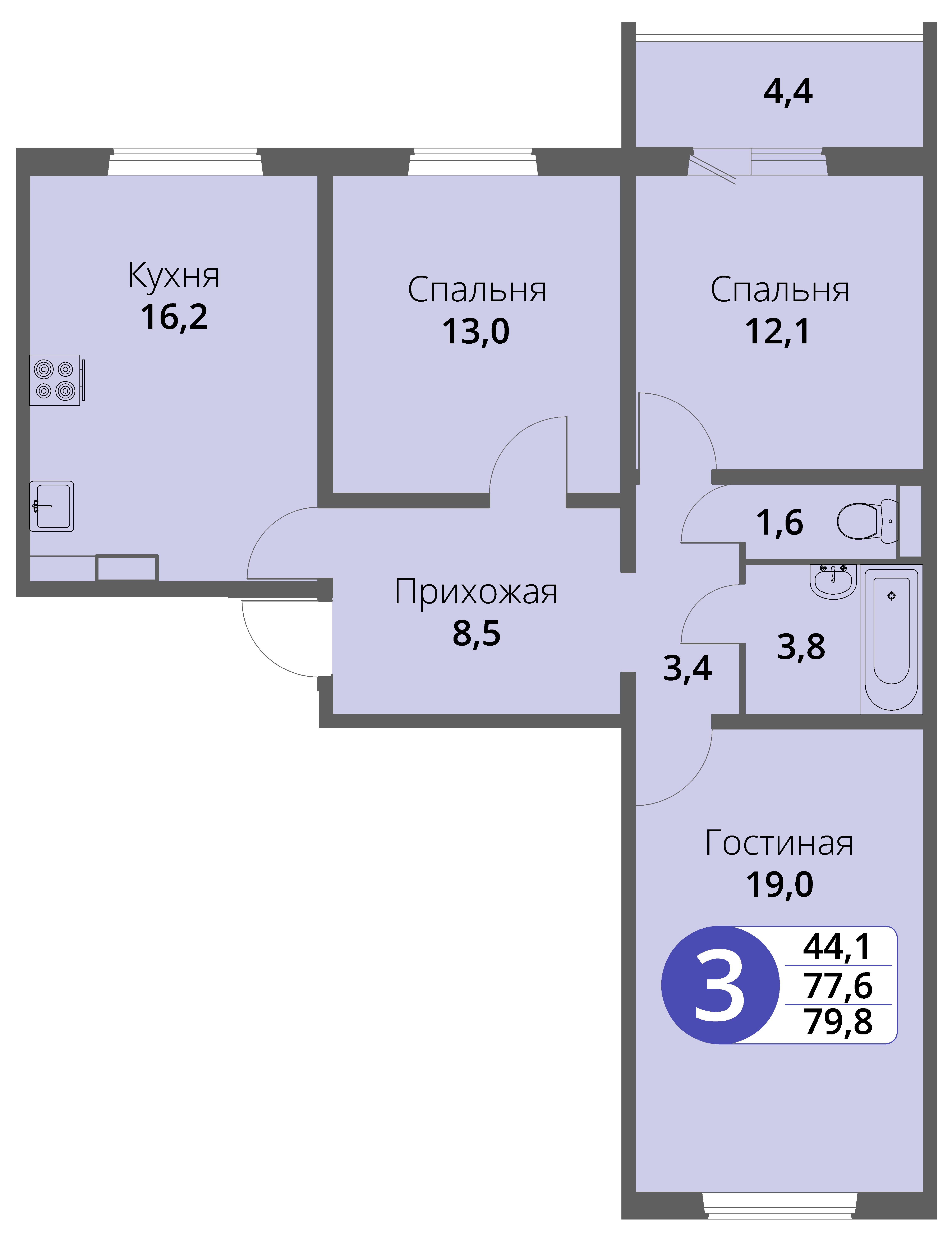 Зареченская 1-2, квартира 105 - Трехкомнатная