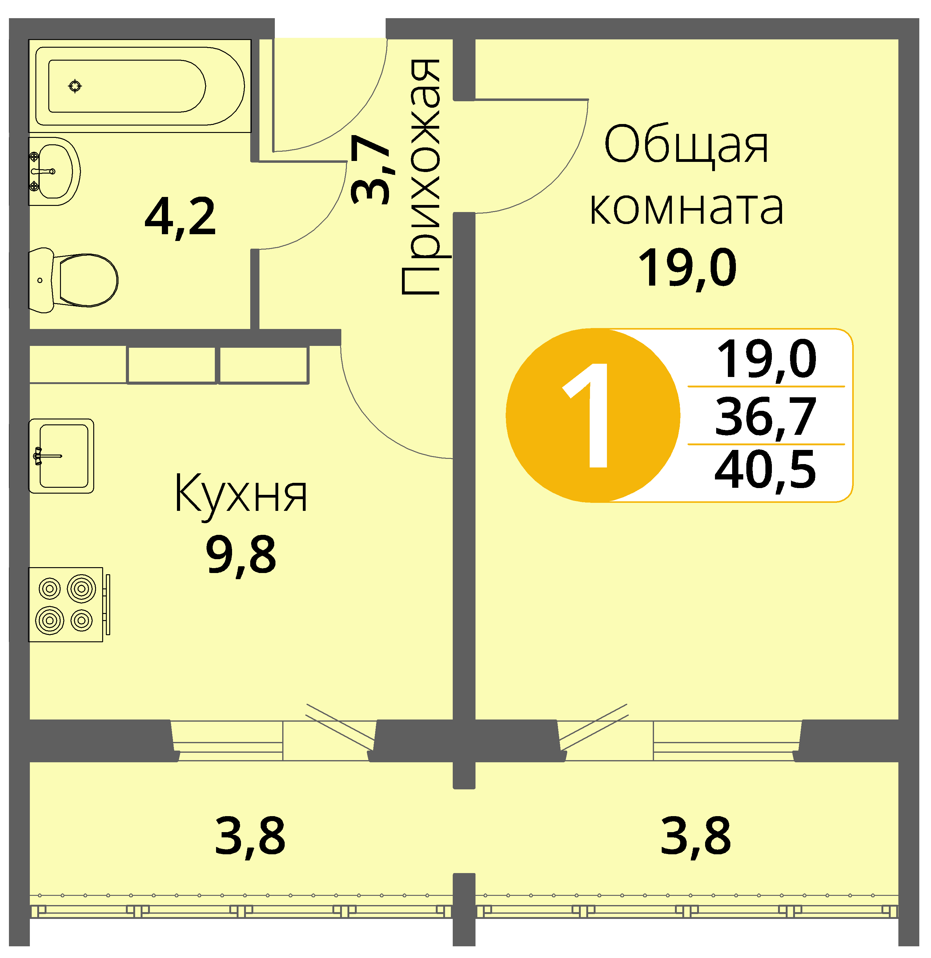 Зареченская 1-2, квартира 133 - Однокомнатная
