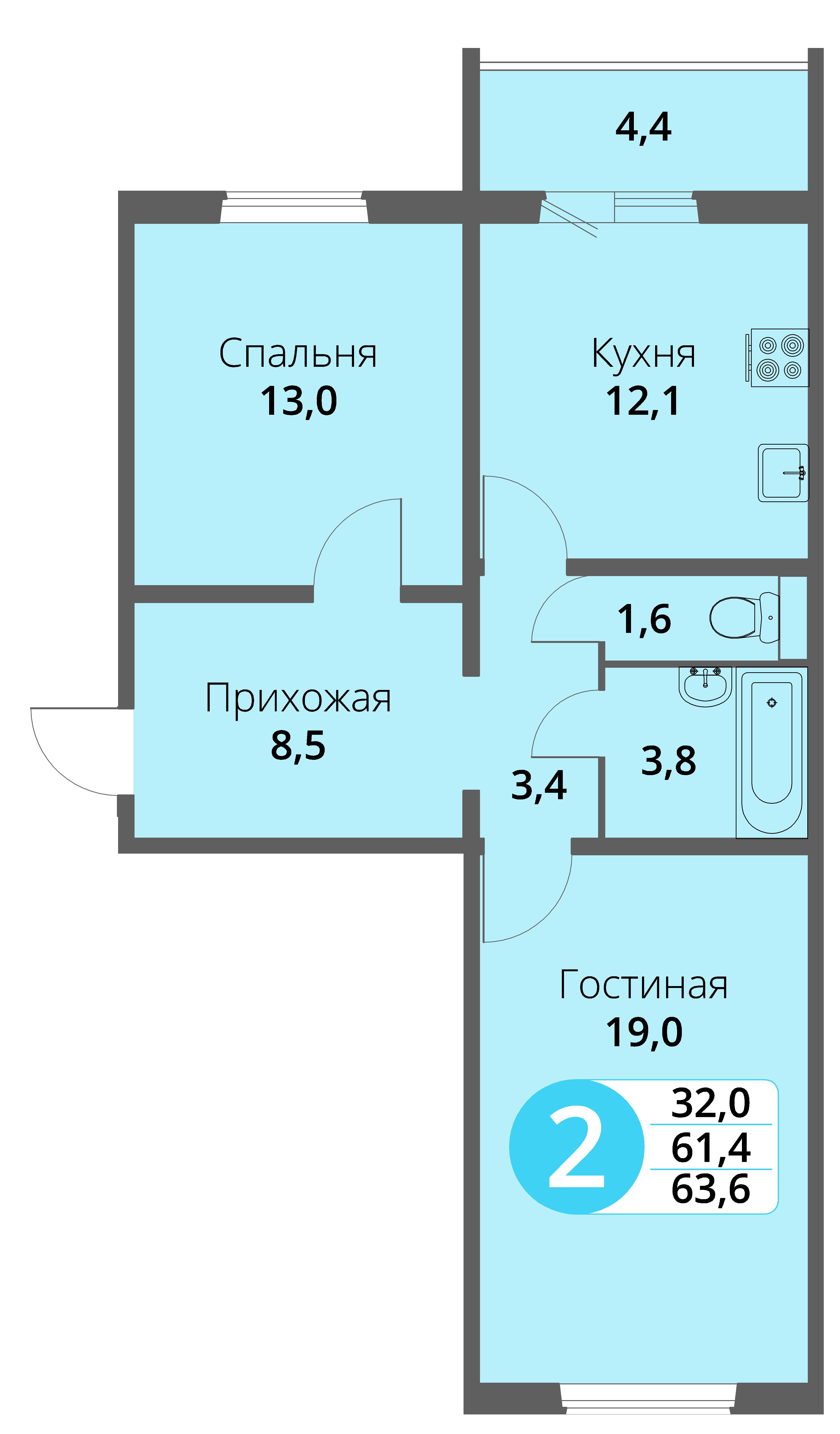 Зареченская 1-2, квартира 161 - Двухкомнатная