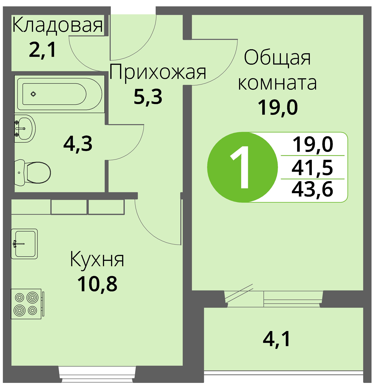 Зареченская 1-2, квартира 177 - Однокомнатная