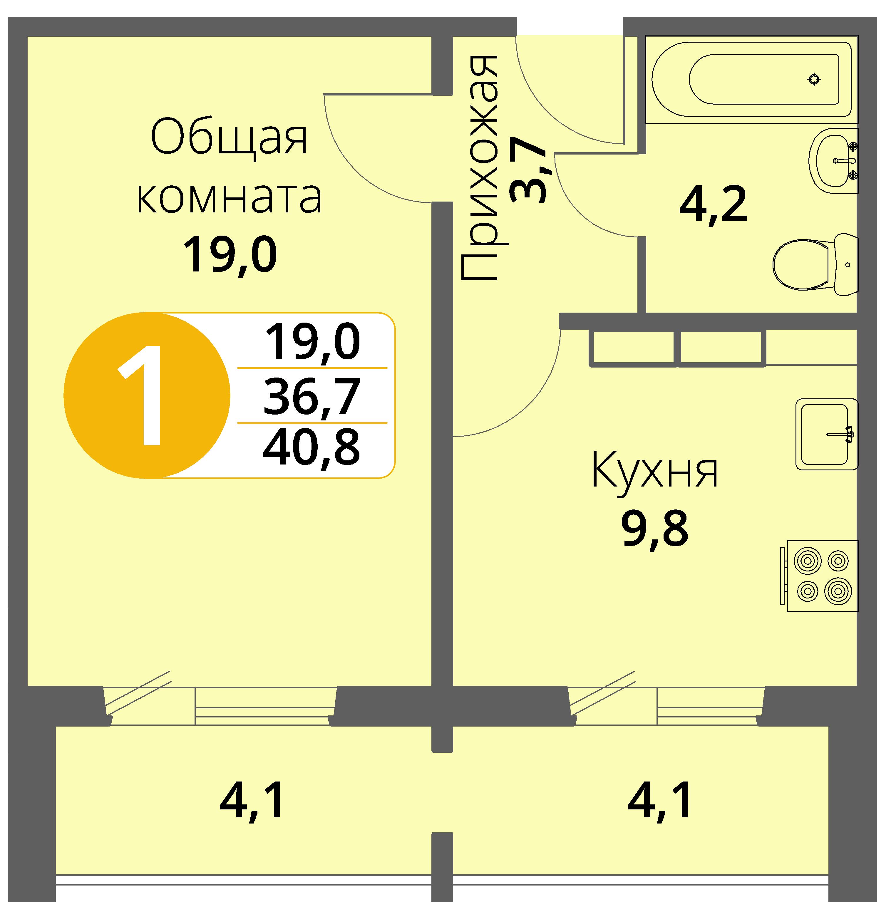 Зареченская 1-1, квартира 23 - Однокомнатная