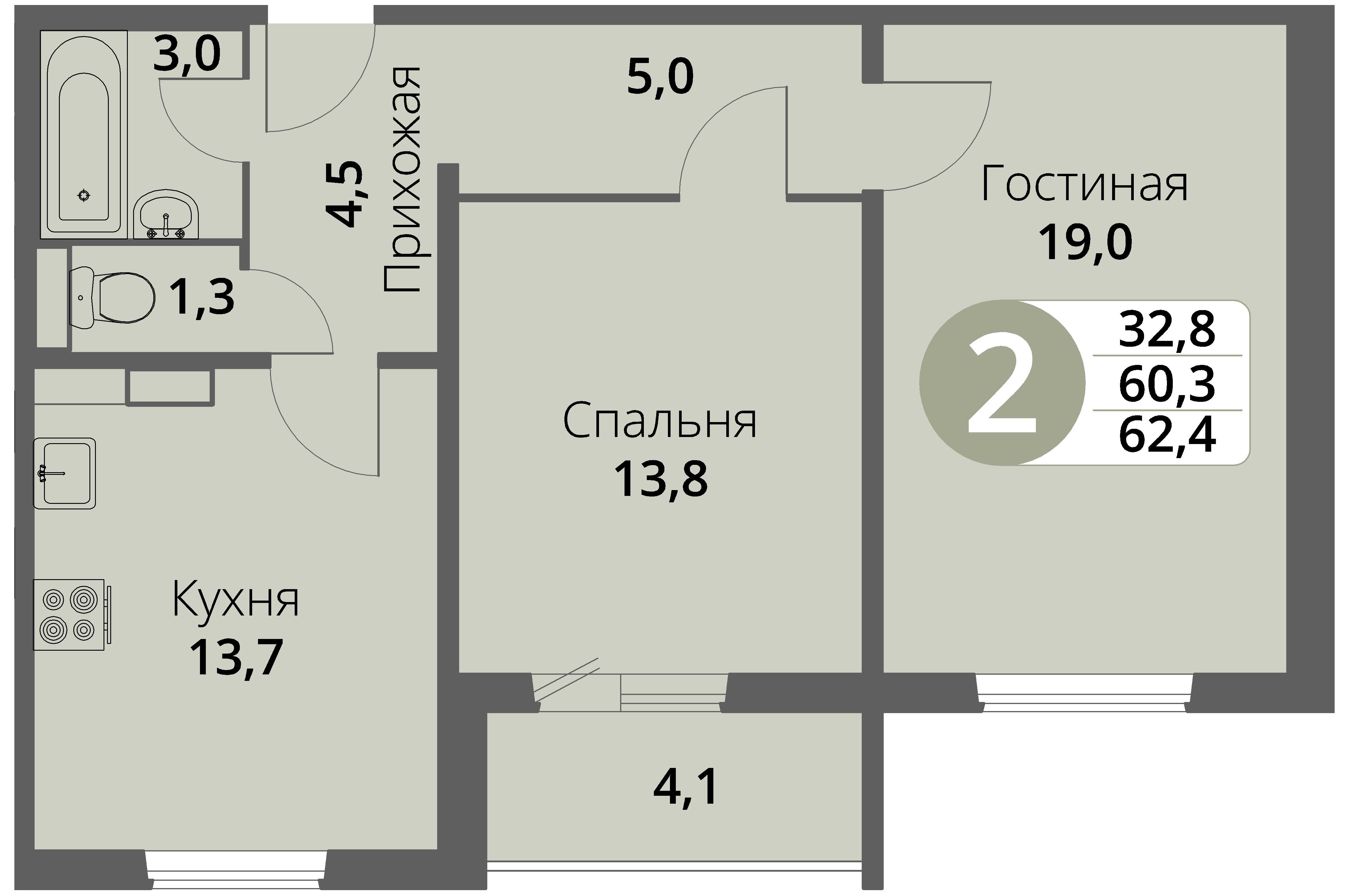 Зареченская 1-1, квартира 17 - Двухкомнатная