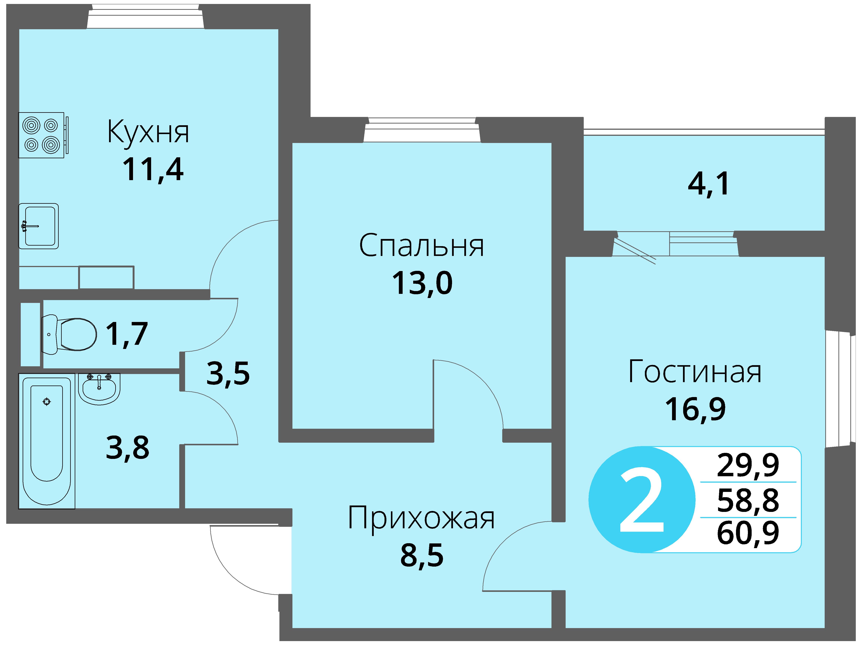 Зареченская 1-1, квартира 41 - Двухкомнатная