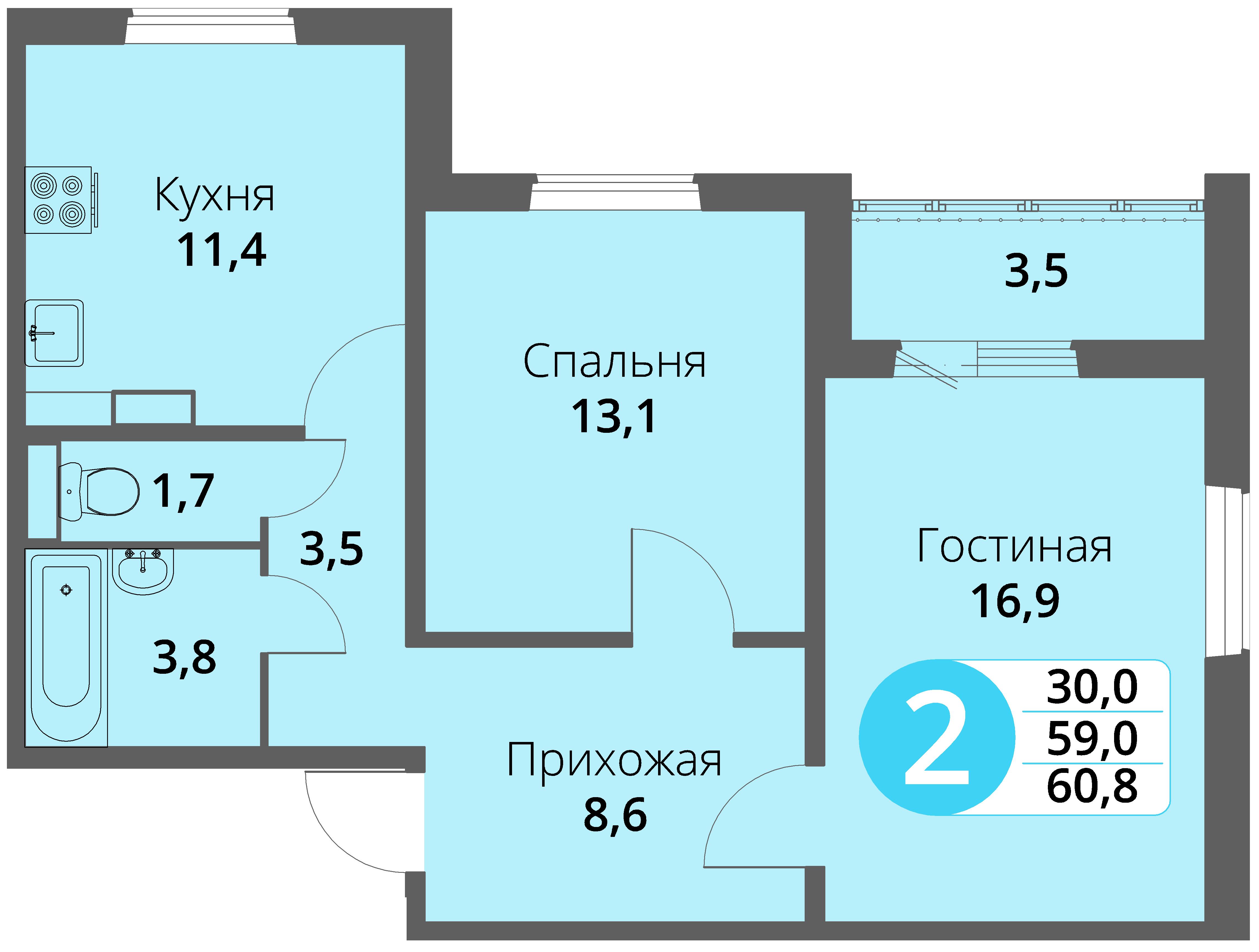 Зареченская 1-1, квартира 51 - Двухкомнатная