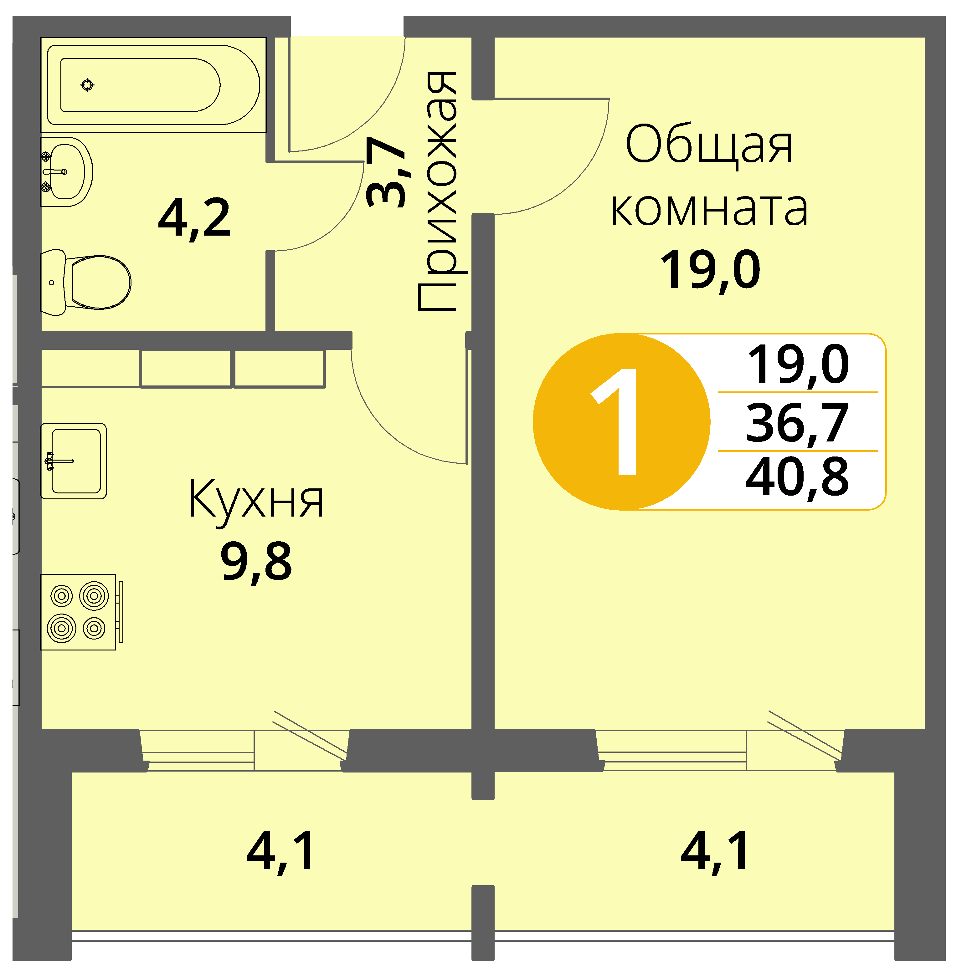 Зареченская 1-1, квартира 98 - Однокомнатная