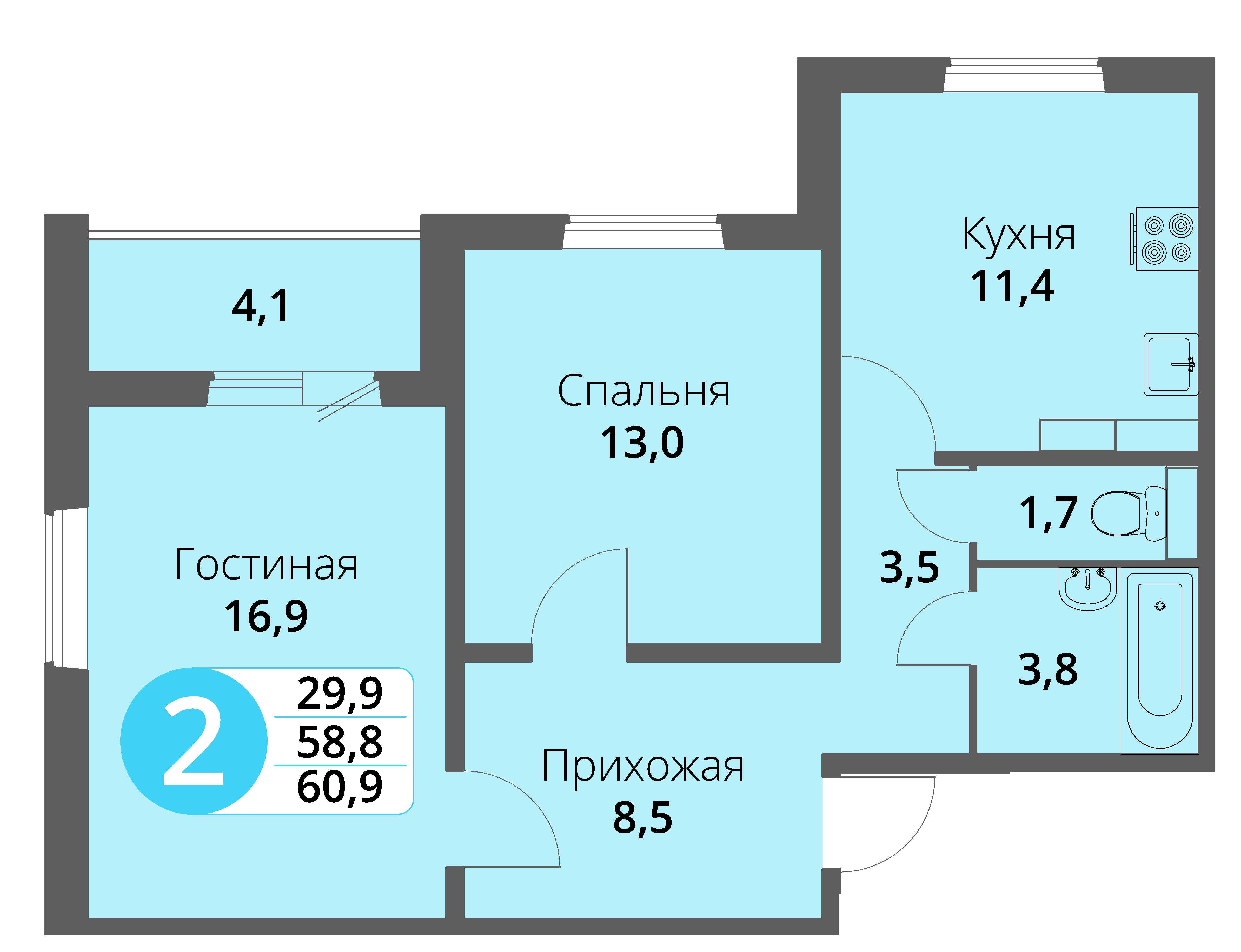 Зареченская 1-1, квартира 105 - Двухкомнатная