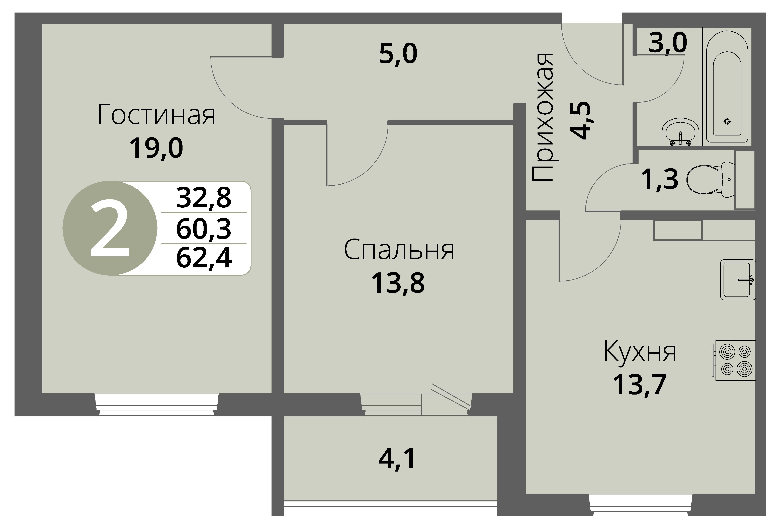 Зареченская 1-1, квартира 94 - Двухкомнатная
