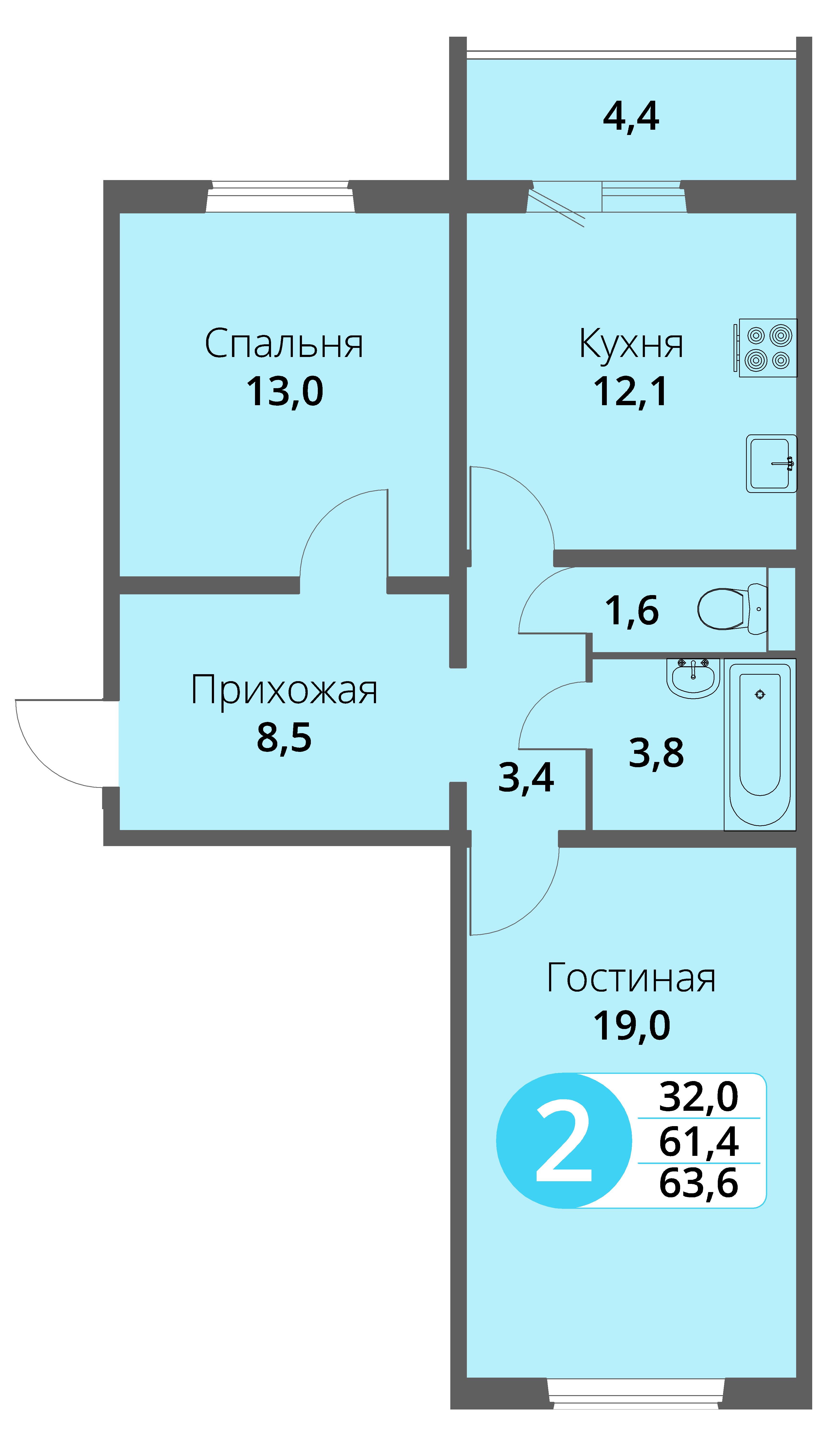 Зареченская 1-1, квартира 81 - Двухкомнатная