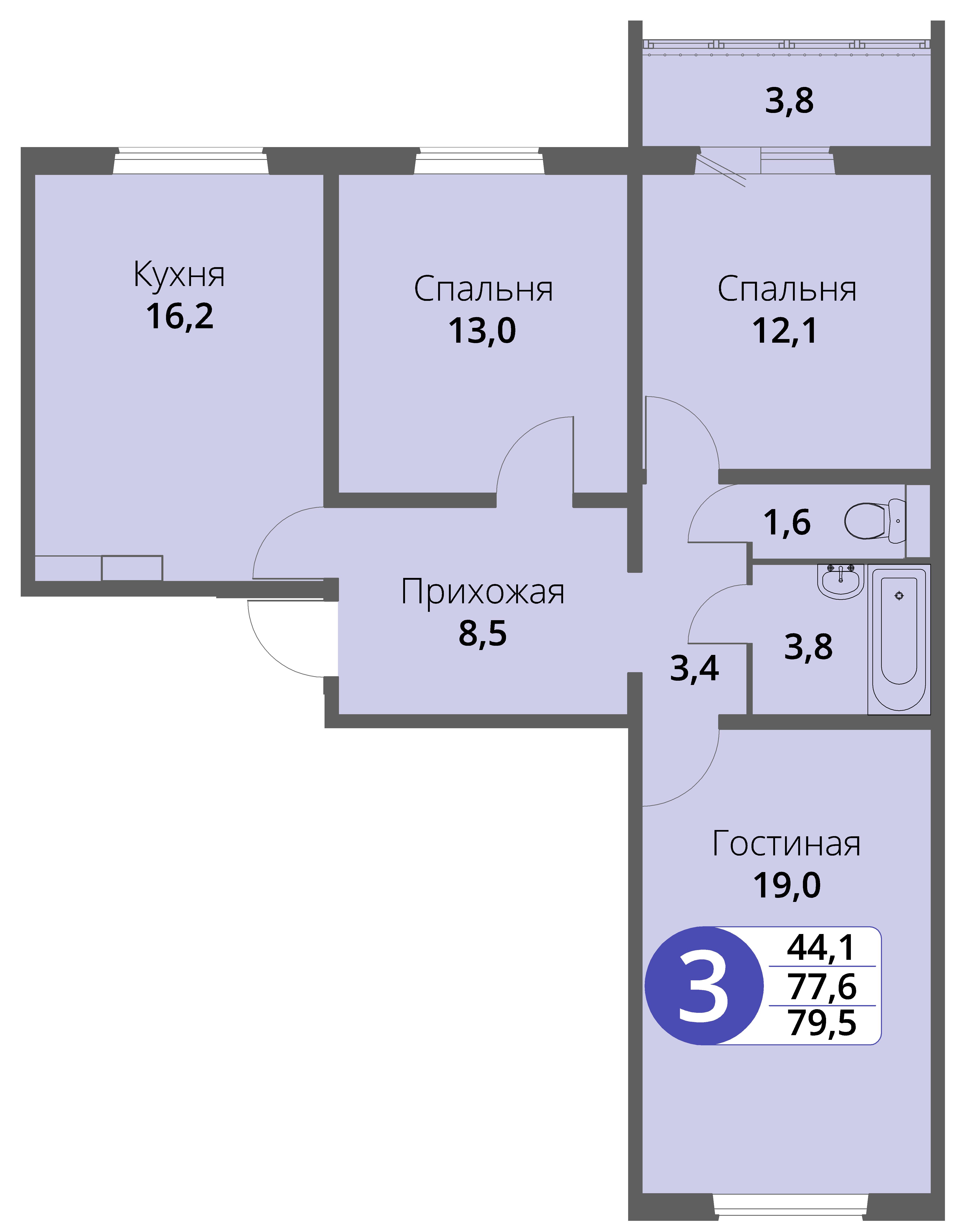 Зареченская 1-1, квартира 116 - Трехкомнатная