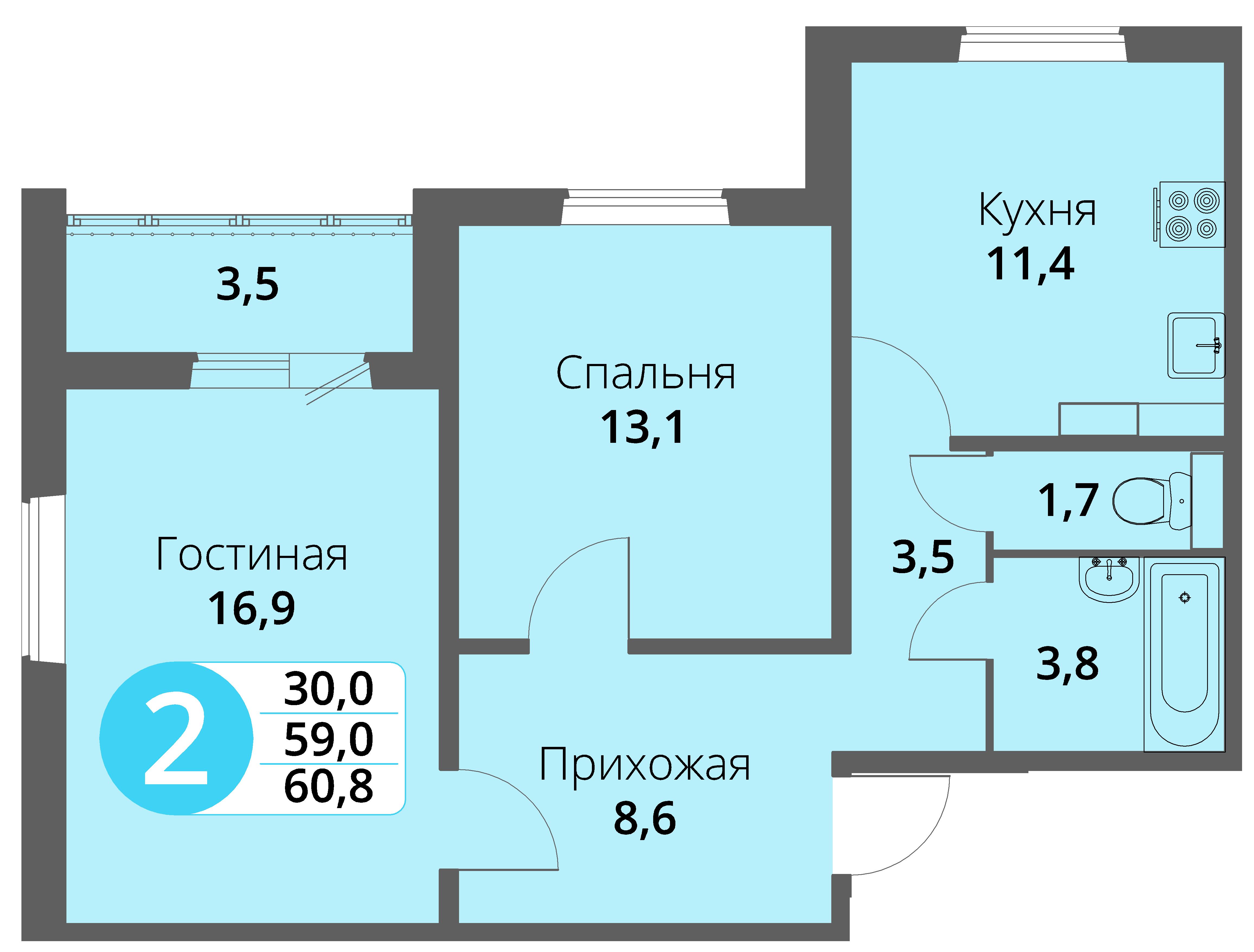 Зареченская 1-1, квартира 160 - Двухкомнатная