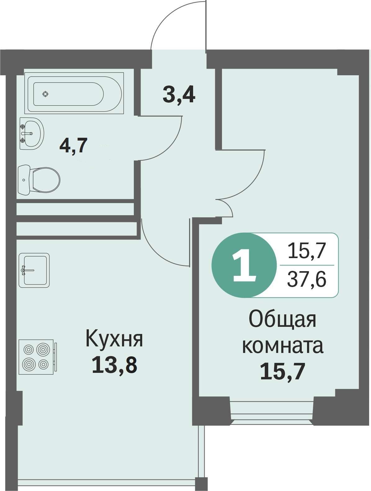 ул. Свиридова д.8, квартира 211 - Однокомнатная