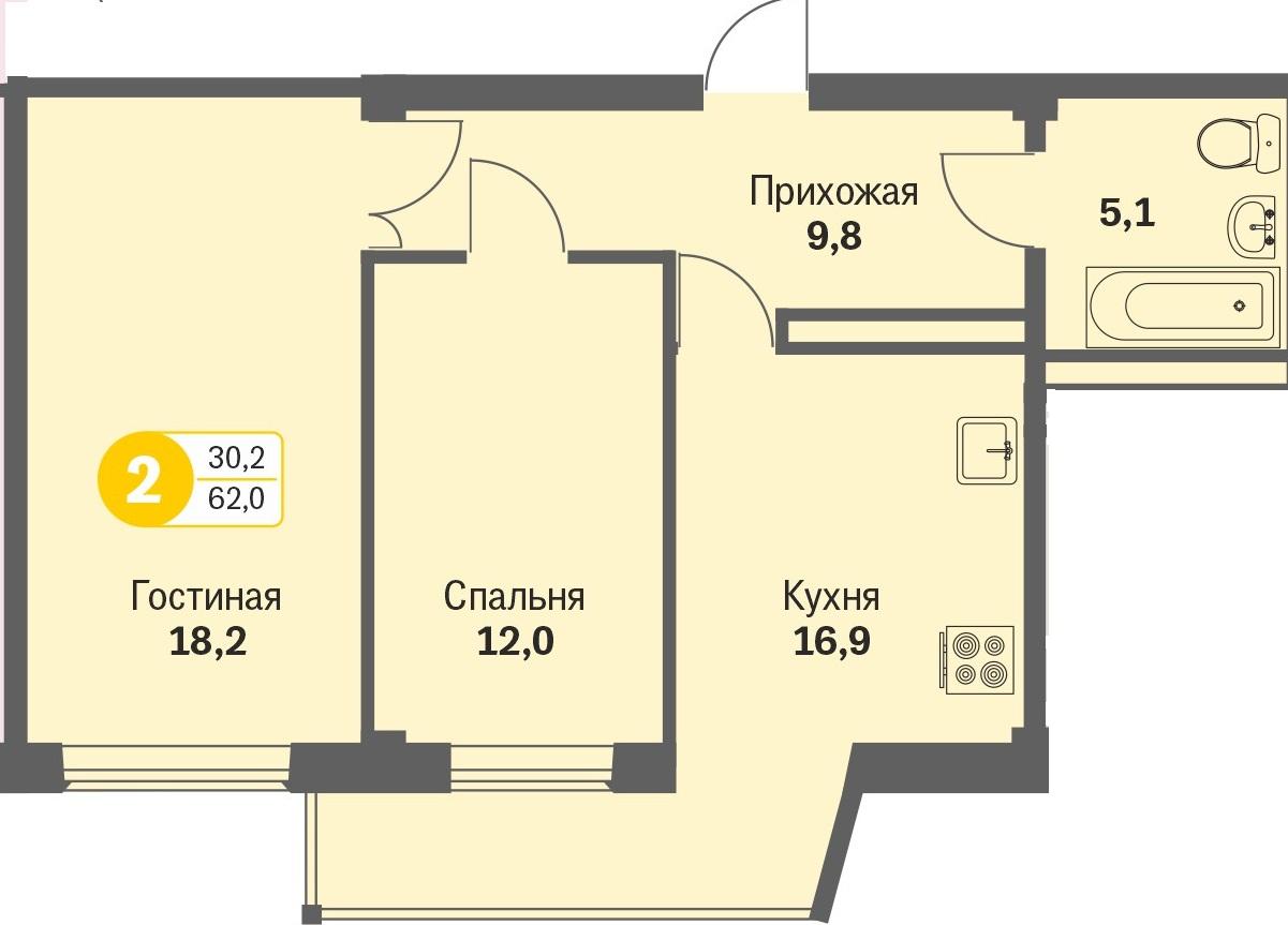 ул. Свиридова д.8, квартира 255 - Двухкомнатная