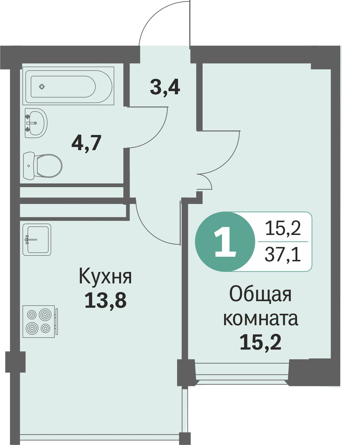 ул. Свиридова д.8, квартира 431 - Однокомнатная