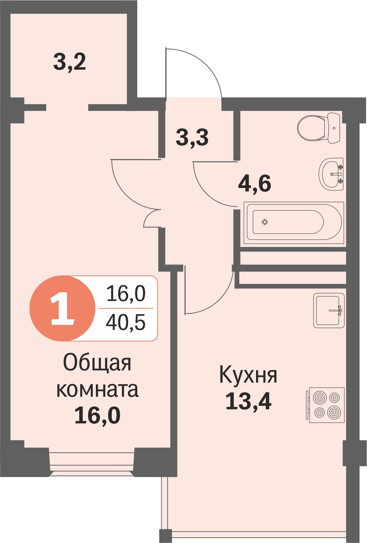 ул. Свиридова д.8, квартира 422 - Однокомнатная