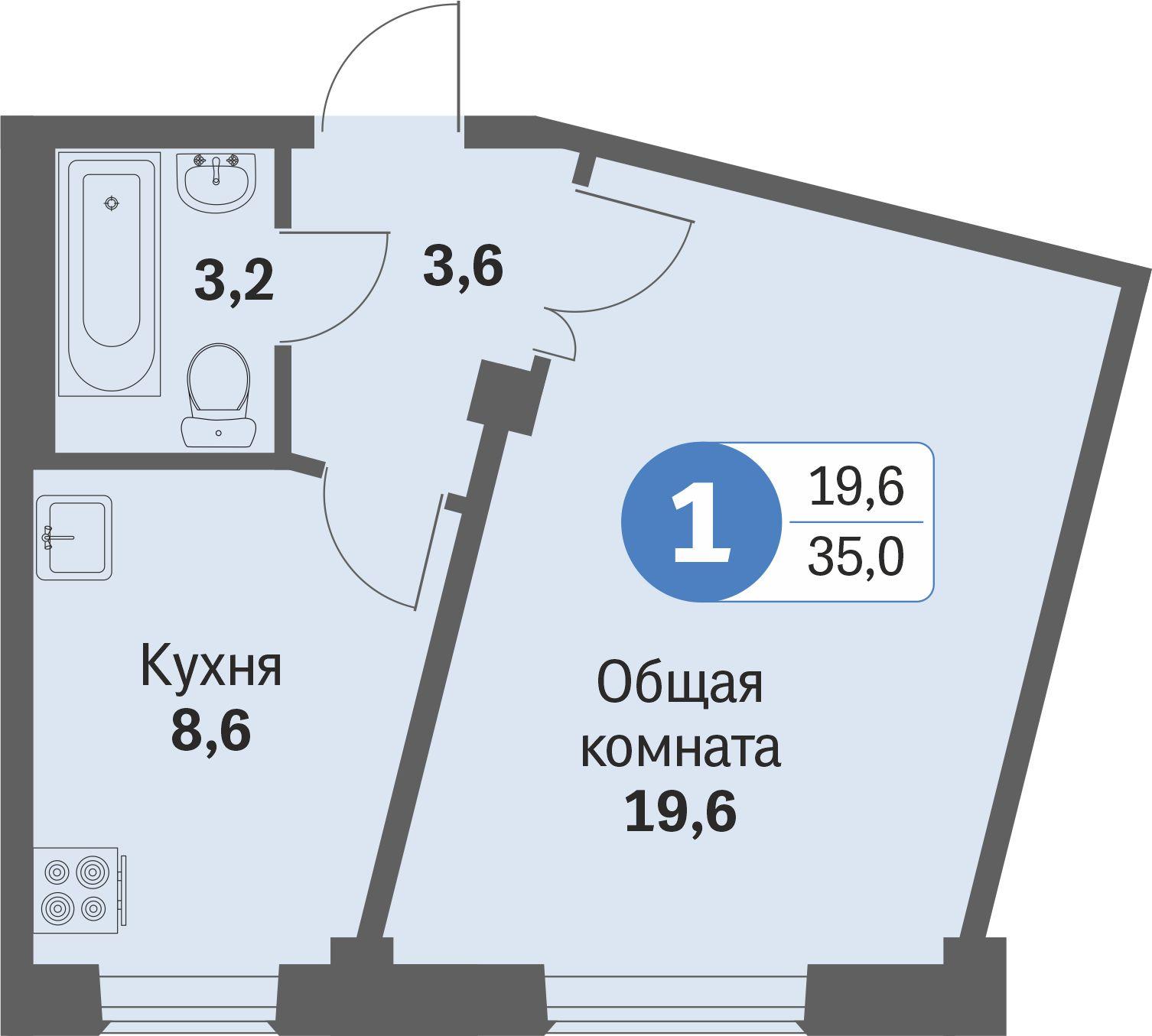 ул. Свиридова д.8, квартира 530 - Однокомнатная