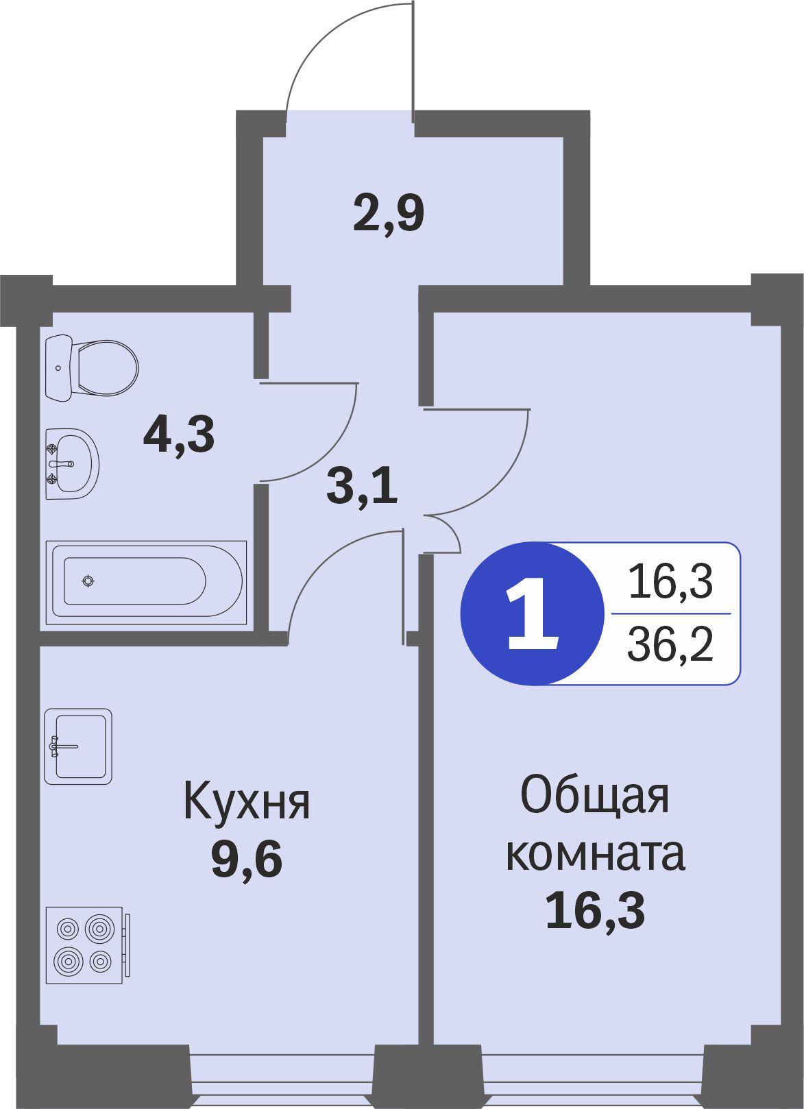 ул. Свиридова д.8, квартира 581 - Однокомнатная