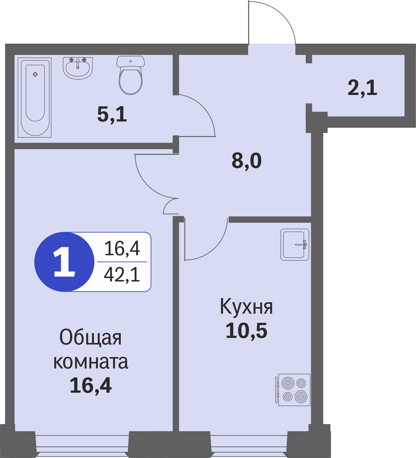 ул. Свиридова д.8, квартира 582 - Однокомнатная