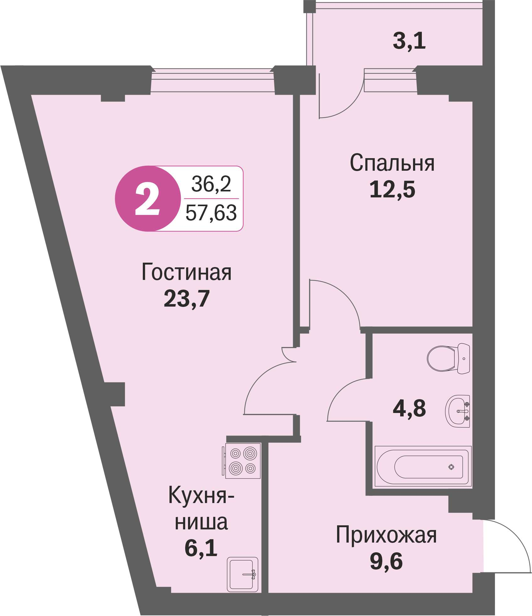 ул. Свиридова д.8, квартира 228 - Двухкомнатная