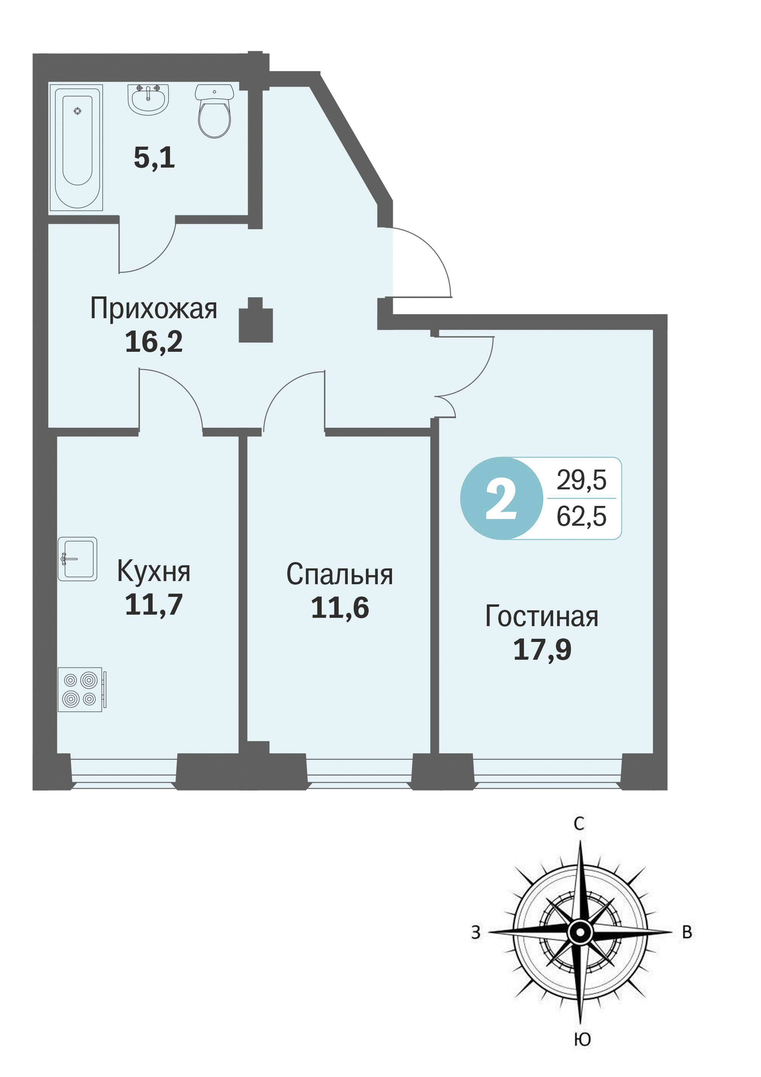 ул. Свиридова, 14, квартира 394 - Двухкомнатная