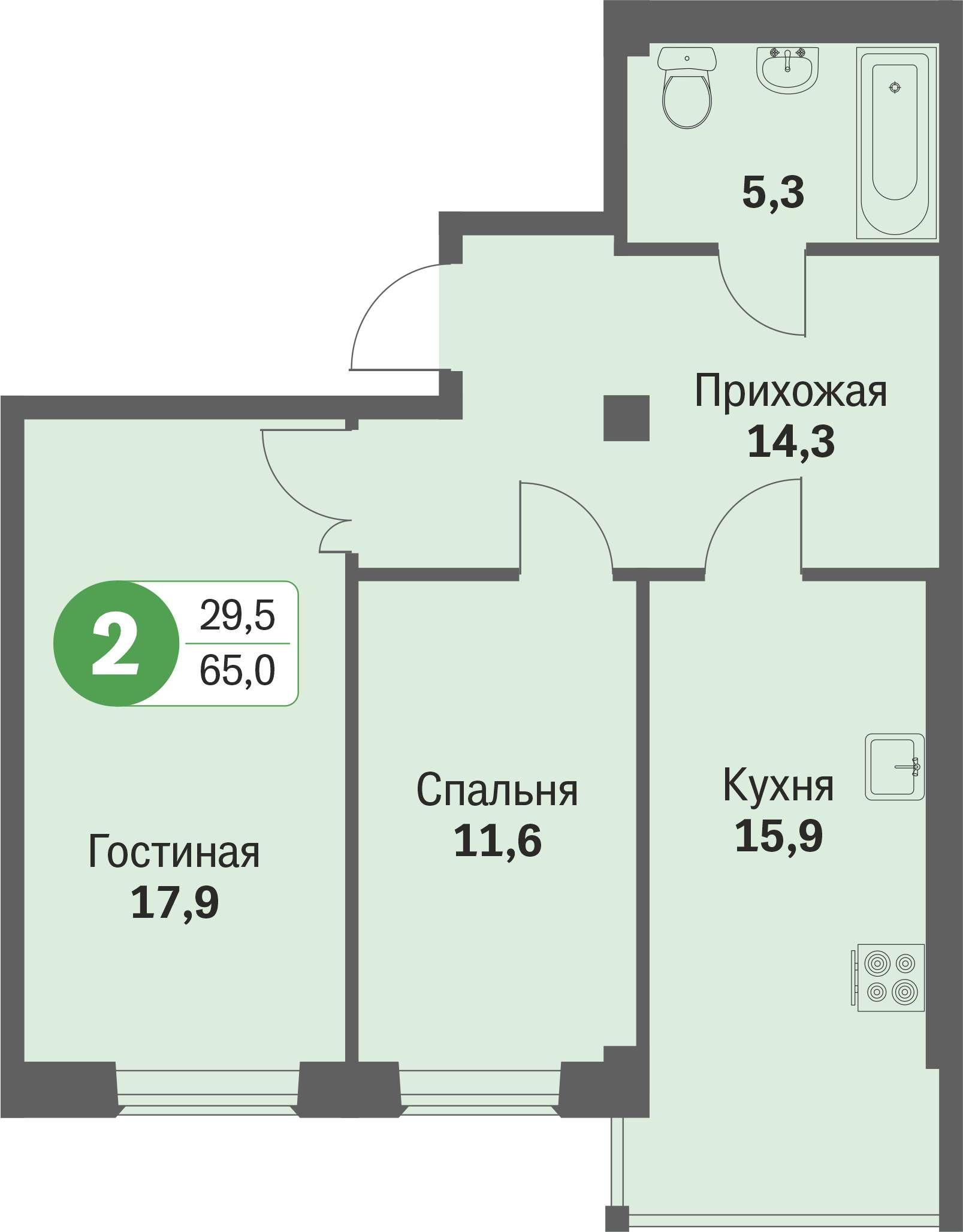 ул. Свиридова, 14, квартира 68 - Двухкомнатная