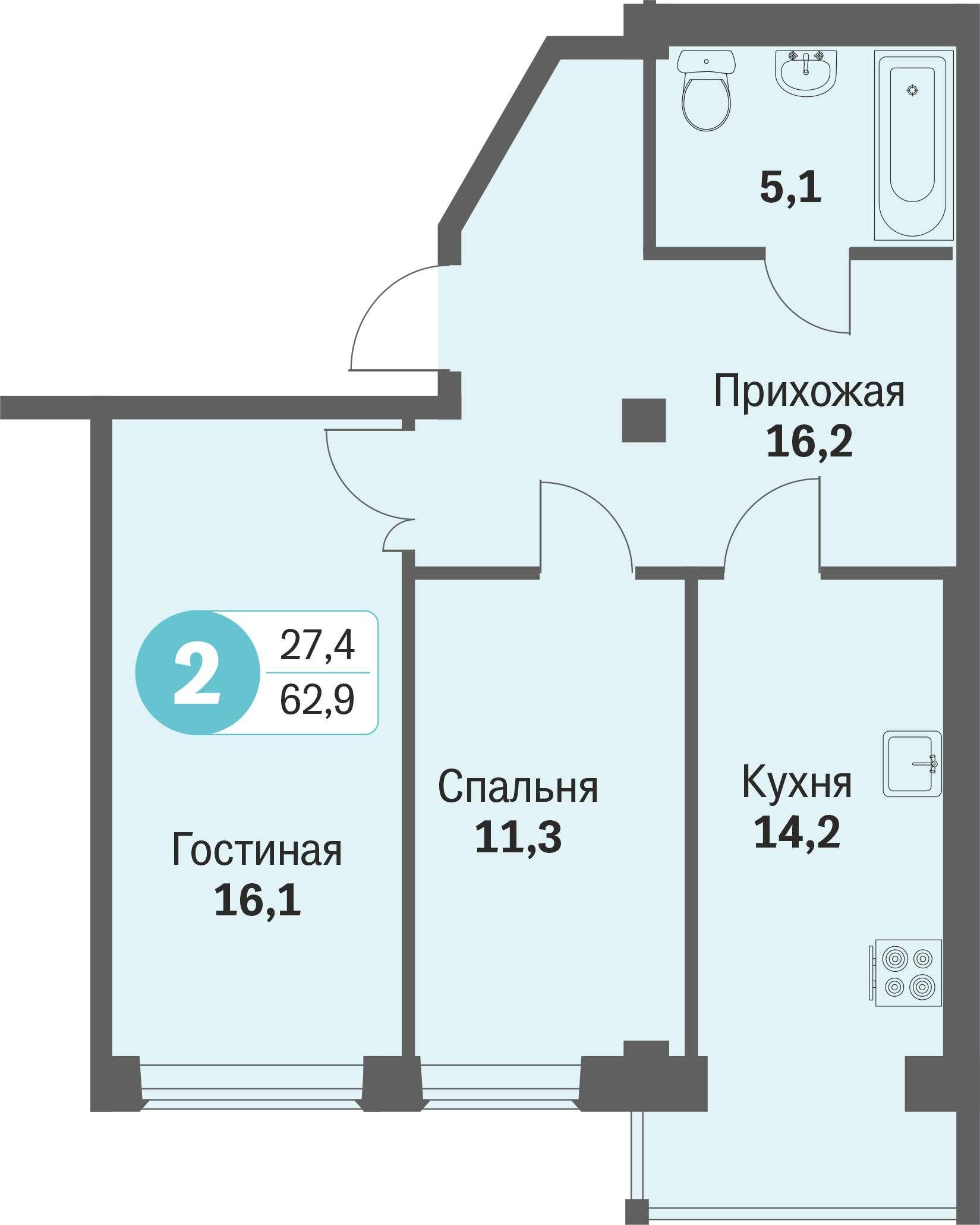 ул. Свиридова, 14, квартира 321 - Двухкомнатная
