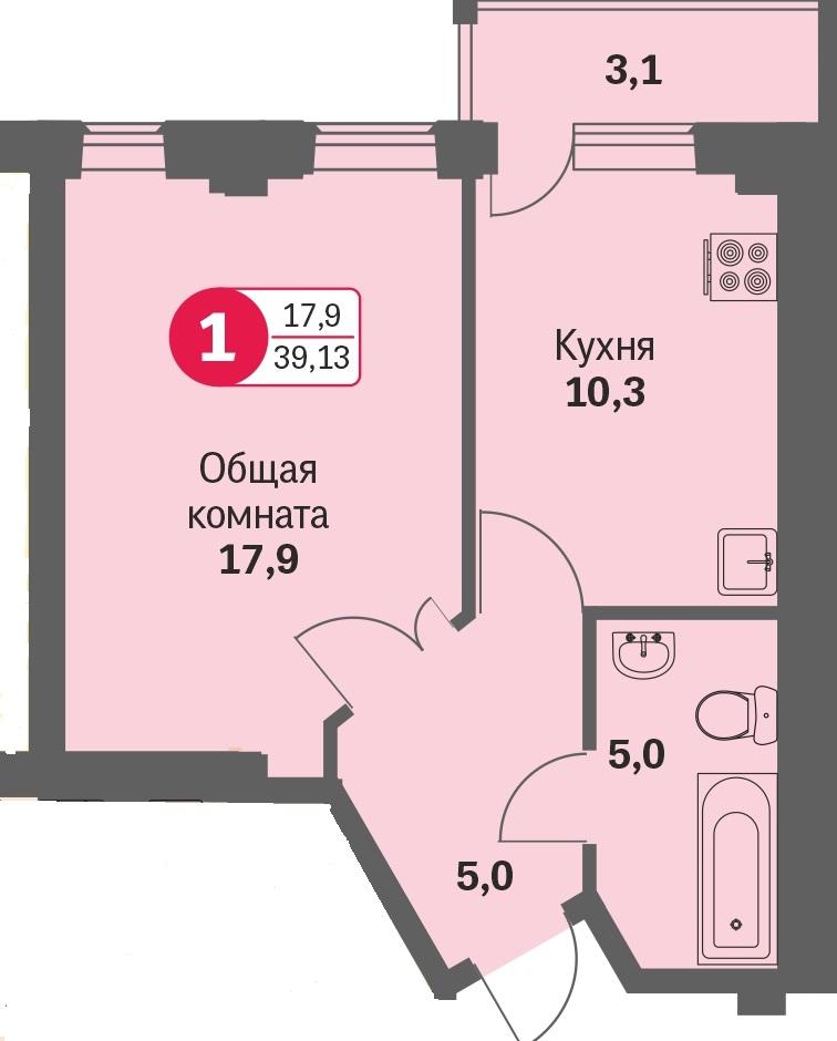 ул. Свиридова, 14, квартира 455 - Двухкомнатная
