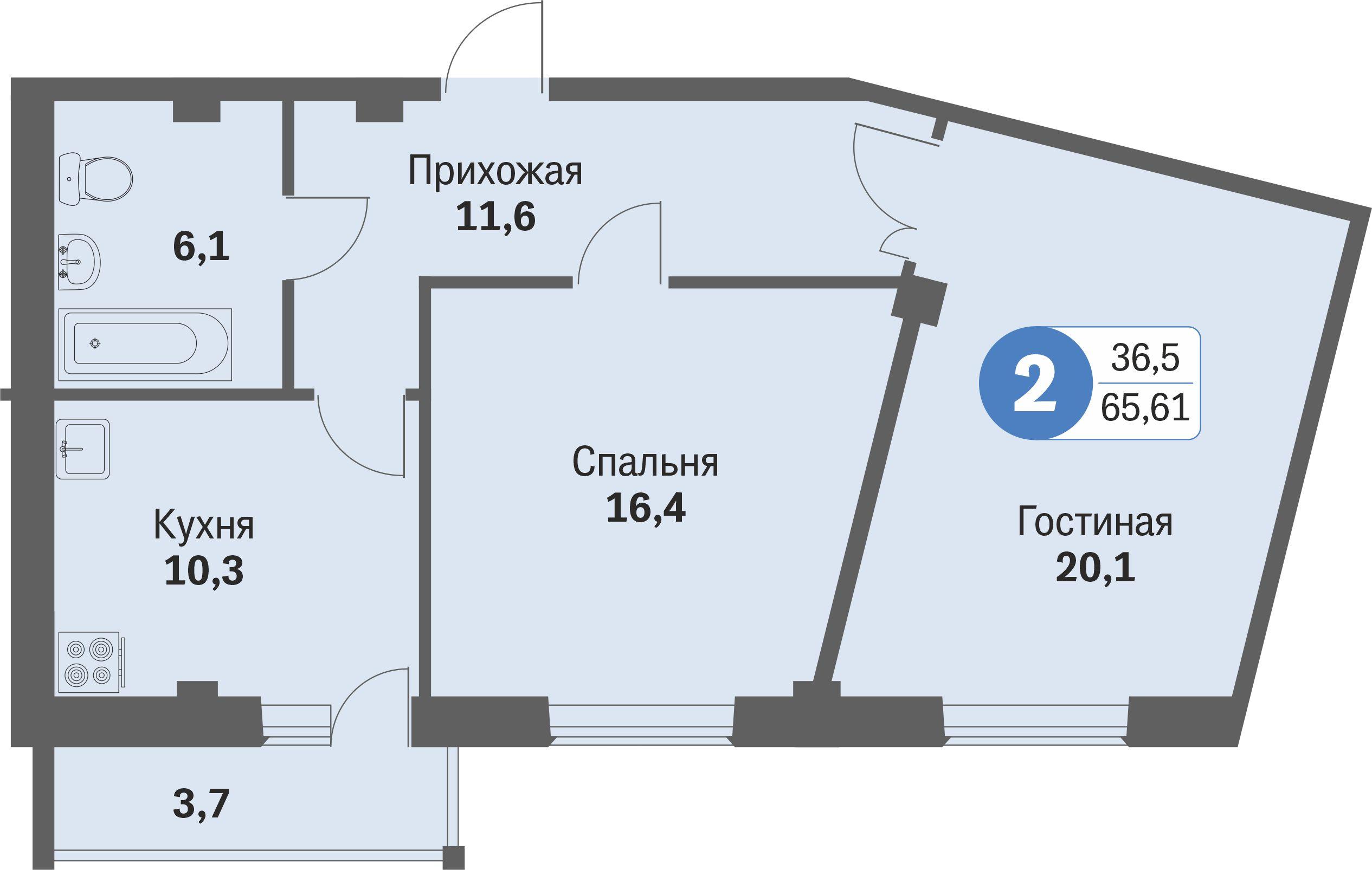 ул. Свиридова, 14, квартира 580 - Двухкомнатная