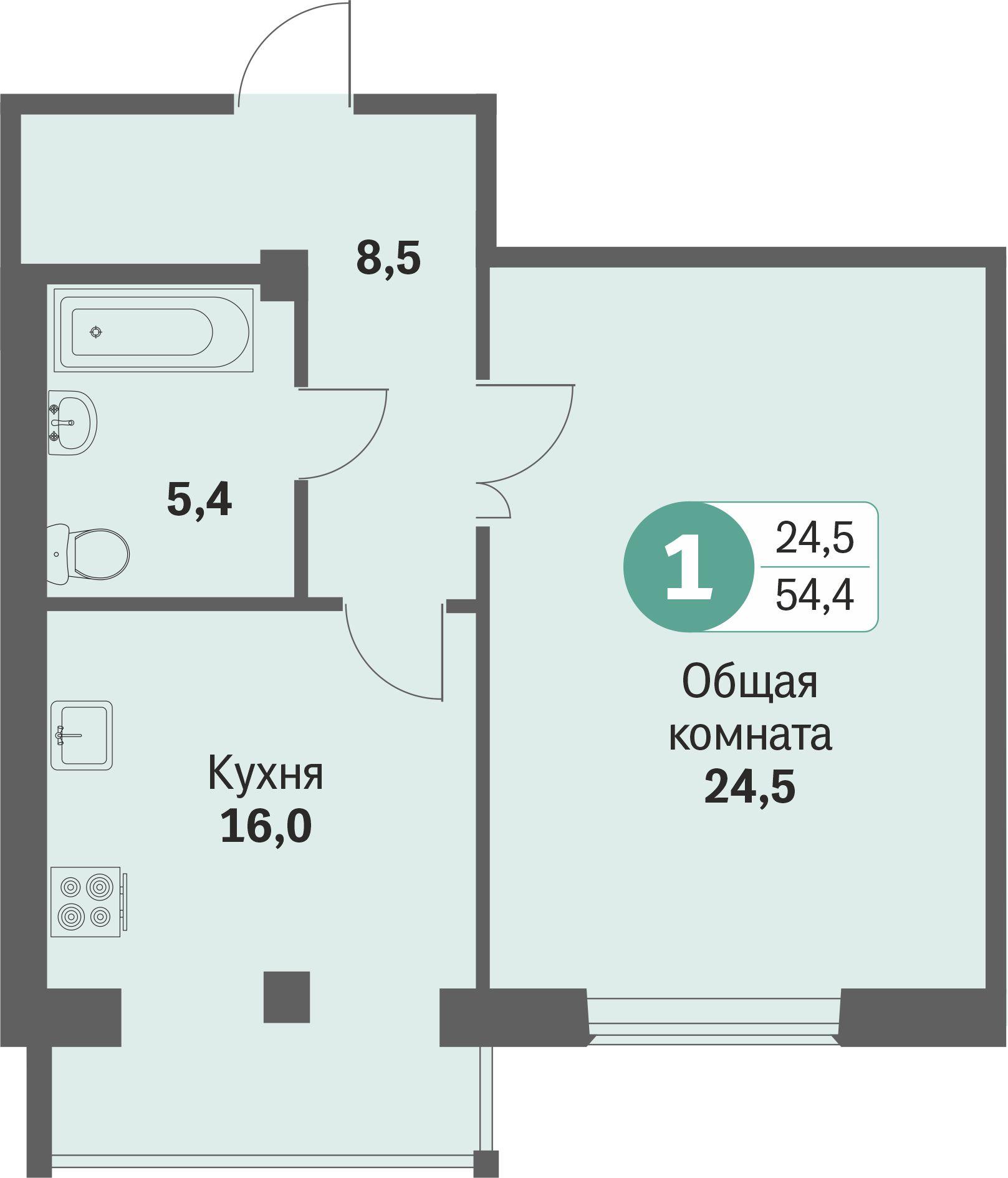 ул. Свиридова, 14, квартира 604 - Однокомнатная