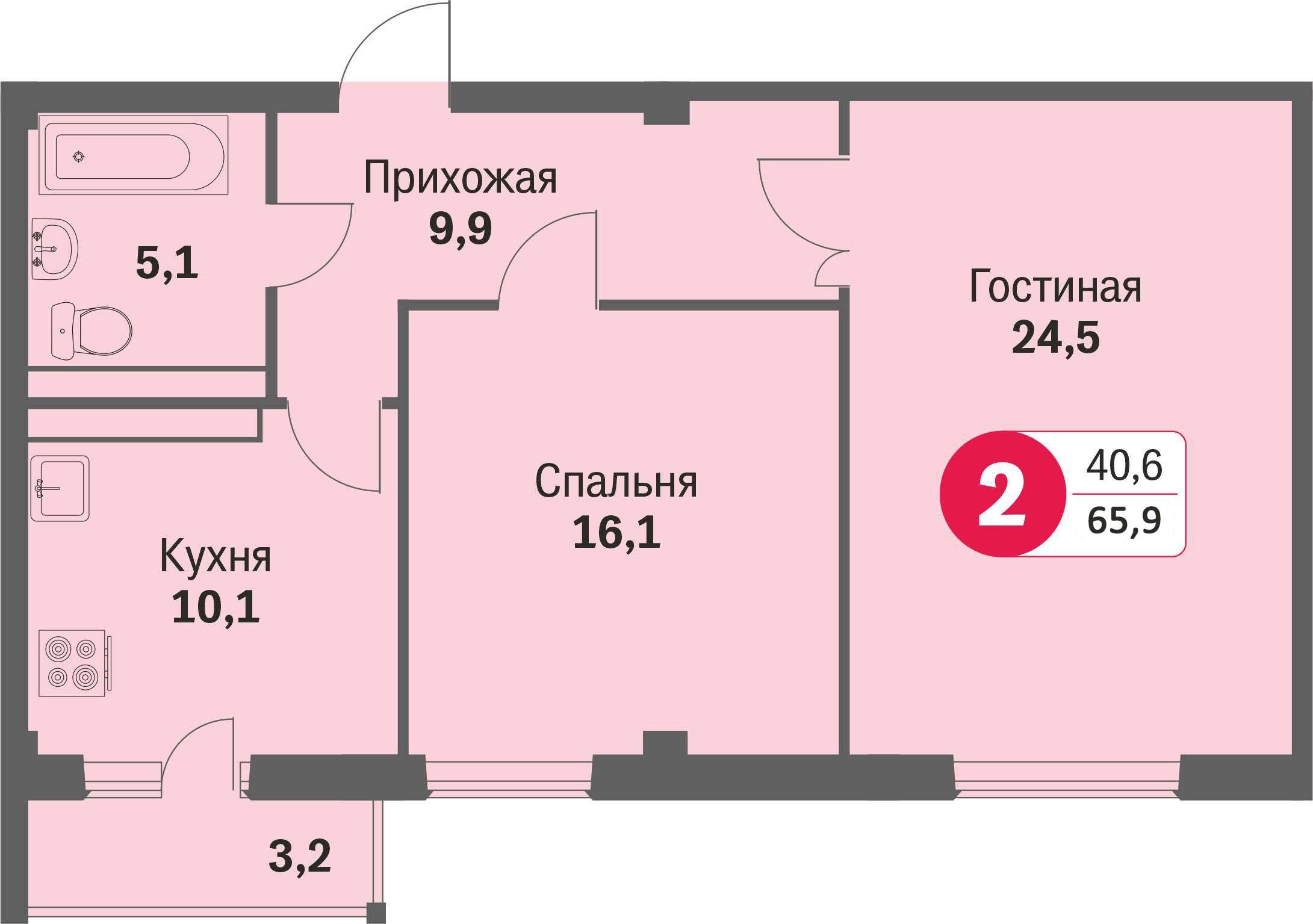 ул. Свиридова, 14, квартира 484 - Двухкомнатная